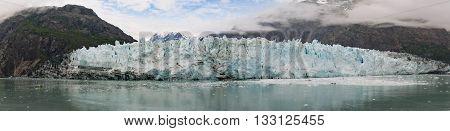 Panorama view of Margerie Glacier Glacier Bay Alaska.