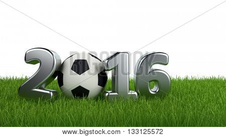 2016 Football poster background with a silver 3d date and soccer ball on a green sports field with white background and copy space. 3d Rendering.