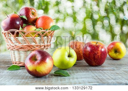 Ripe apples on the wooden table in the garden. Fresh fruits. Fresh apples. Vegetarian food. Healthy eating concept. Healthy food. Healthy eating.