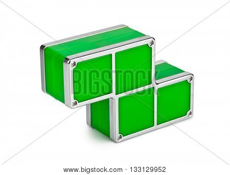 Tetris toy blocks isolated on white background