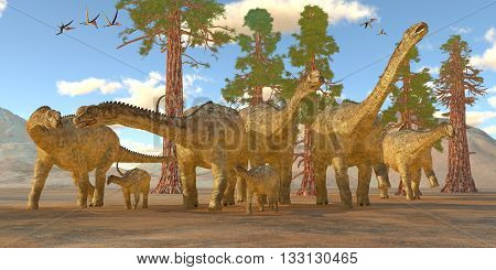 Uberabatitan Dinosaurs - Zhejiangopterus reptile birds fly over a herd of sauropod Uberabatitan dinosaurs in the Cretaceous Period.