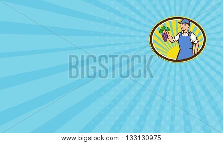 Business card showing illustration of an organic farmer boy wearing hat holding grapes viewed from the front set inside oval shape with sunburst in the background done in retro style.
