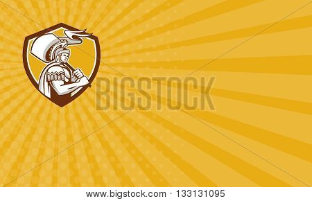 Business card showing illustration of centurion roman soldier gladiator carrying flag set inside crest shield done in retro style on isolated background.