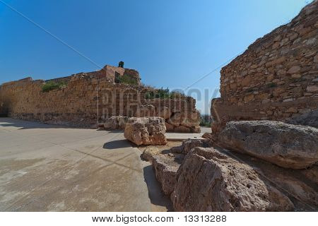 The Ruins Of The Ancient Walls Of Rome In The Era Of Tarragona, Spain