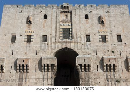 Aleppo Syria. The entrance to the citadel