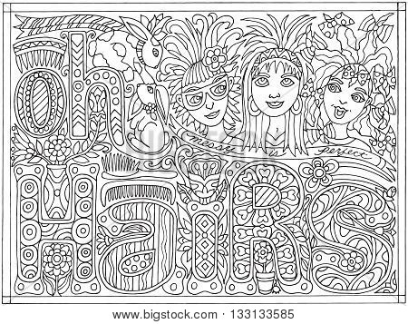 Adult Coloring Book Poster Black and White Vector Illustration Oh Hairs Messy