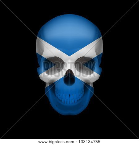 Human skull with flag of Scotland. Threat to national security war or dying out