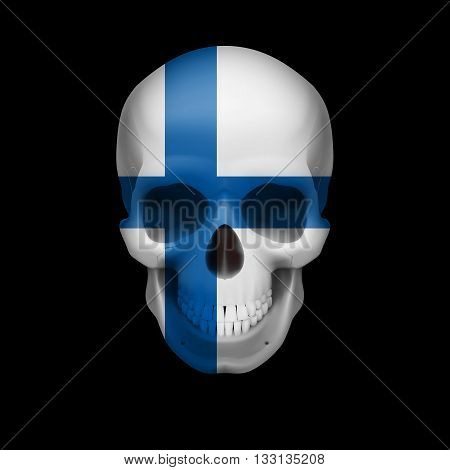 Human skull with flag of Finland. Threat to national security war or dying out