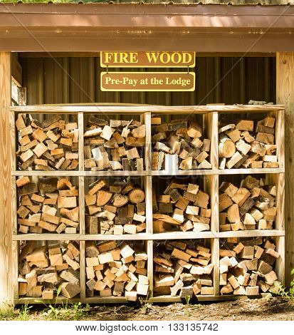 Firewood supply for purchase at the local campground