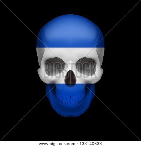 Human skull with flag of El Salvador. Threat to national security war or dying out