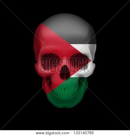 Human skull with flag of Palestine. Threat to national security war or dying out