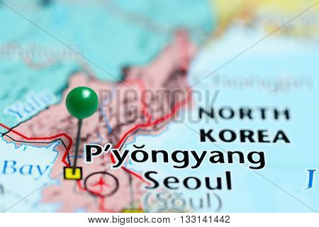 Pyongyang pinned on a map of North Korea