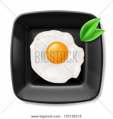 Fried eggs served on black square plate. Casual breakfast