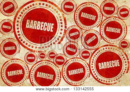 Delicious barbecua sign, red stamp on a grunge paper texture