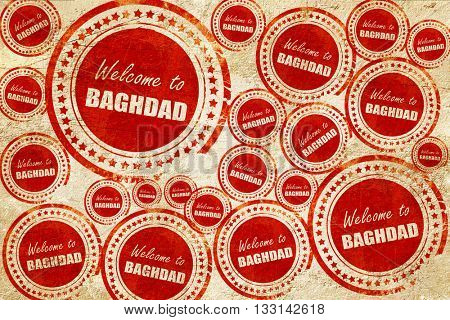 Welcome to baghdad, red stamp on a grunge paper texture