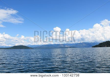 clear water with blue sky on a lake