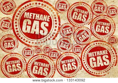 methane gas, red stamp on a grunge paper texture