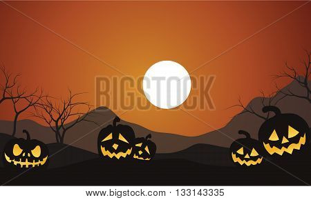 Halloween Scenery Pumpkins silhouettte with orange backgrounds