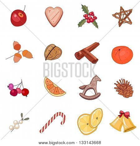 Set with traditional Christmas symbols and decoration on white background. Red,beige and yellow color. Isolated objects for festive design. Vintage,retro style.