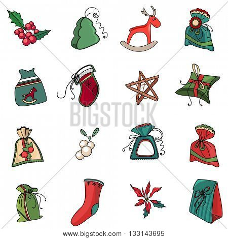 Set with traditional Christmas symbols and decoration on white background. Red and green color. Isolated objects for festive design. Vintage,retro style.