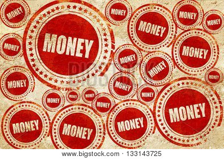 money, red stamp on a grunge paper texture