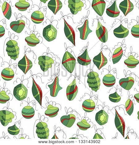 Seamless festive pattern with traditional Christmas symbols. Green and red color. Endless texture for Christmas design, fabrics, wallpapers, greeting cards, wrappings, advertisement.