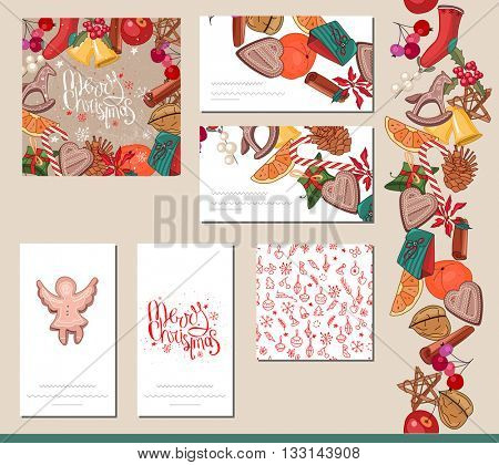 Festive templates with different  traditional Christmas symbols, food and decoration. Red and beige,vintage style.  For your design, announcements, greeting cards, posters, advertisement.