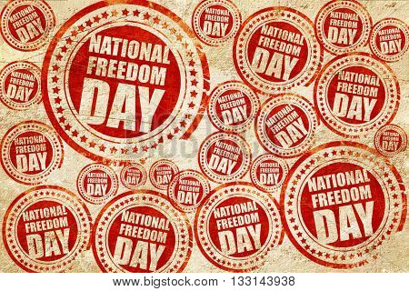 national freedom day, red stamp on a grunge paper texture
