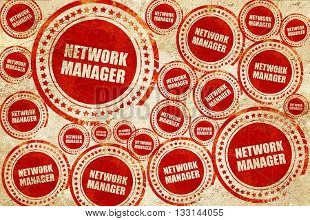 network manager, red stamp on a grunge paper texture