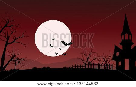At night silhouette of castle and bat with red backgrounds