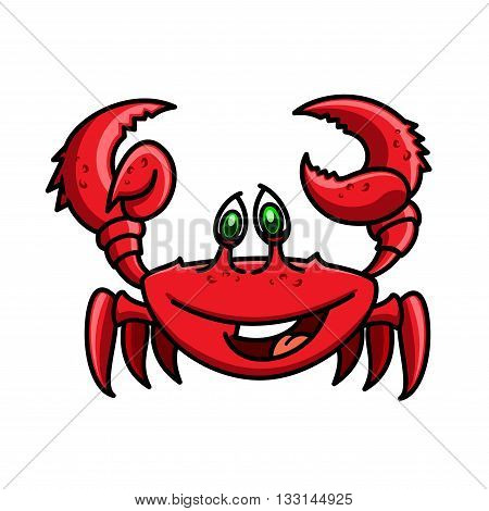 Smiling cartoon ocean red crab is running with raised claws. Childish stylized marine crustacean animal character for wildlife theme or book hero design