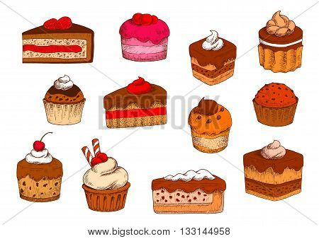 Chocolate and fruity tiered cakes, petits fours and mini cakes, cupcakes and muffins, cheesecakes and custard pies sketches with buttercream and jam, berry and chocolate fillings, topped with fresh fruits, whipped cream and wafer tubes. Sketch style