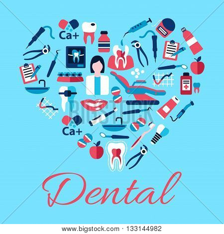 Dentist with tools and equipments symbols arranged into a shape of a heart with flat icons of healthy and carious teeth, pills and syringes, toothbrushes and toothpastes, implant, braces and floss, clipboards, vitamins and apples