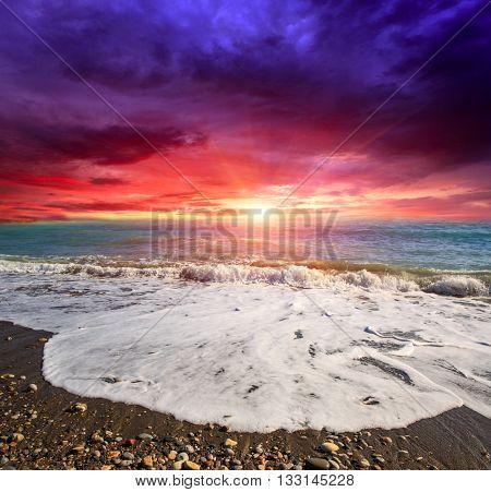 Majestic sunset over sea shore
