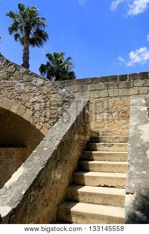 stairway in old Mediterranean castle. Larnaka, Cyprus