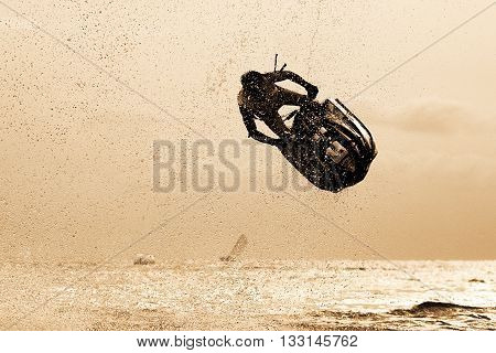 Water Sport, Jetski Freestyle on the beach, Silhouette