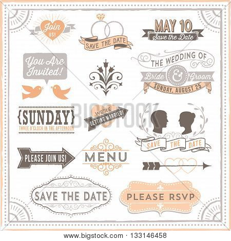 Vintage Wedding Elements - Set of vintage wedding design elements. Each design is grouped and colors are global for easy editing.