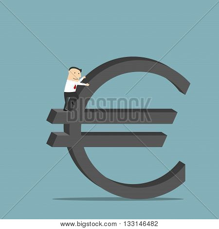 Purposeful cartoon businessman is conquering a large sign of euro currency as symbol of financial success and wealth. Use as business concept for career growth and richness design