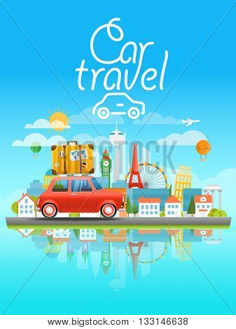 Dirrefent world famous sights. Modern cityscape Vector travel illustration. Cat travel concept