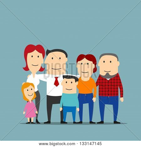 Portrait of cartoon extended family with happy smiling father and mother, cute daughter, son and grandparents. Great for family, parenthood and marriage themes design usage