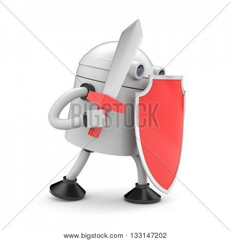 Robot ready to fight. 3d illustration