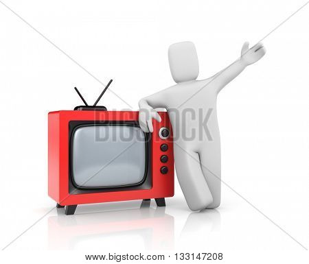 Person with retro TV. Cartoon style. 3d illustration