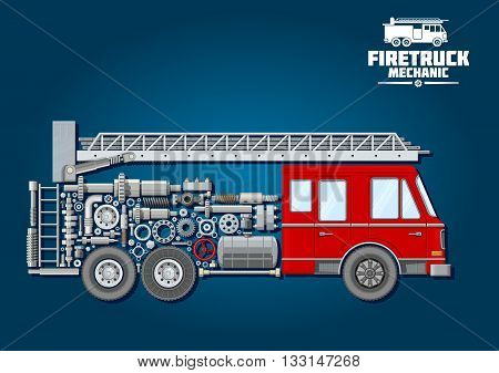 Fire truck mechanics symbol of fire engine with red cabin, telescopic turntable ladder on the roof and car body composed of wheels, fuel tank and suspension system, crankshaft and bearings, axle, absorbers and valve handwheels