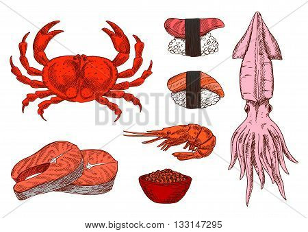 Colored sketched seafood symbols for mediterranean and oriental cuisine design with juicy salmon steaks and shrimp, sushi nigiri topped with marinated salmon and tuna, steamed crab, squid and salted red caviar