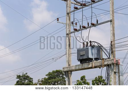Transformer On Pole In High Power Substation