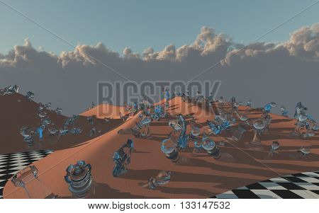 Chess pieces scattered in Chessboard desert 3D Render