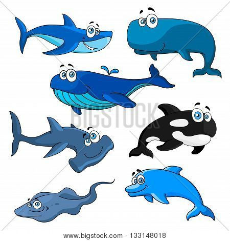 Funny smiling sea animals with cartoon characters of blue, bowhead and killer whales, reef and hammerhead sharks, happy dolphin and stingray. Underwater wildlife theme or zoo mascot design