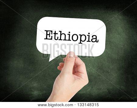 Ethiopia written on a speechbubble
