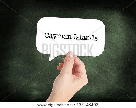 Cayman Islands written on a speechbubble