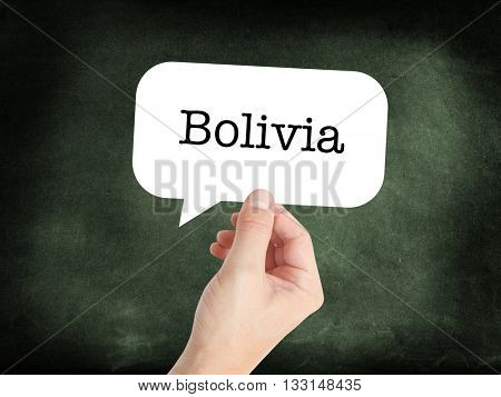 Bolivia written on a speechbubble